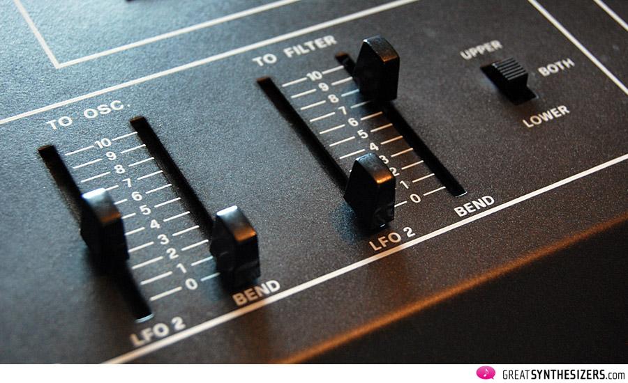 Der Joystick kann wahlweise auf Upper, Lower oder beide Sounds wirken