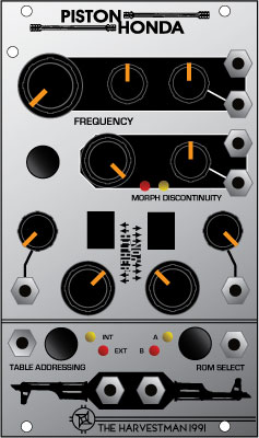 Harvestman Piston Honda - digitaler Oszillator im Eurorack Format mit 2 Wave Roms und jeweils 256 Wellenformen