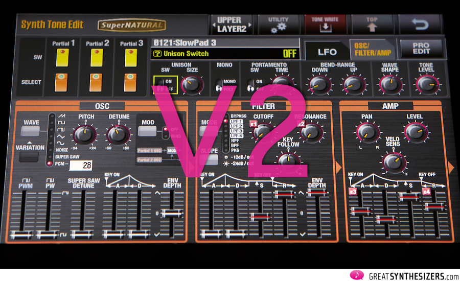 Roland Jupiter-80 V2 - three new Low Pass Filters