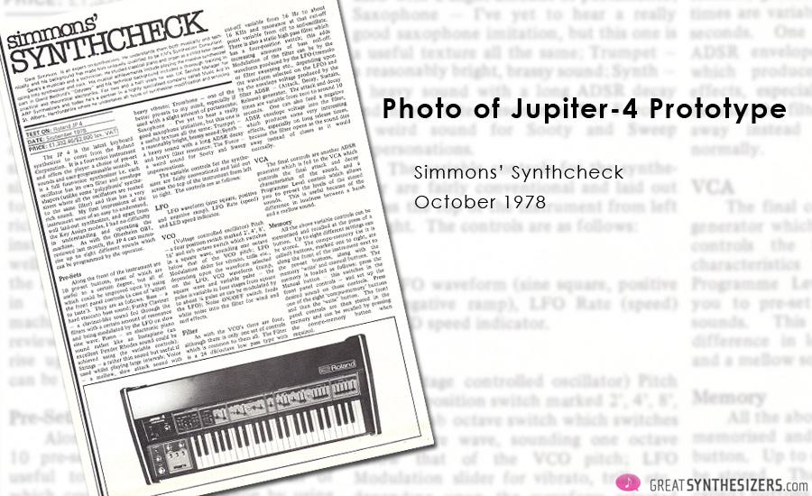 Roland Jupiter-4 Prototype