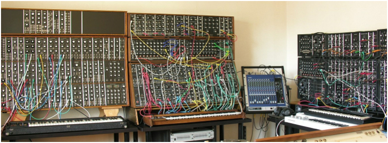 Yves wall of synthesizers
