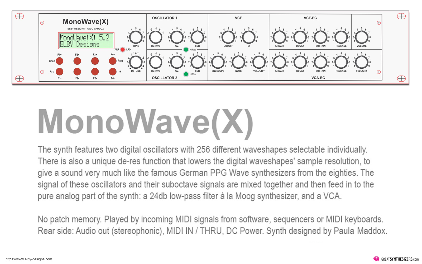 PPG Synthesizer - PPG Wave 2.2 / Wave 2.3 - Monowave X
