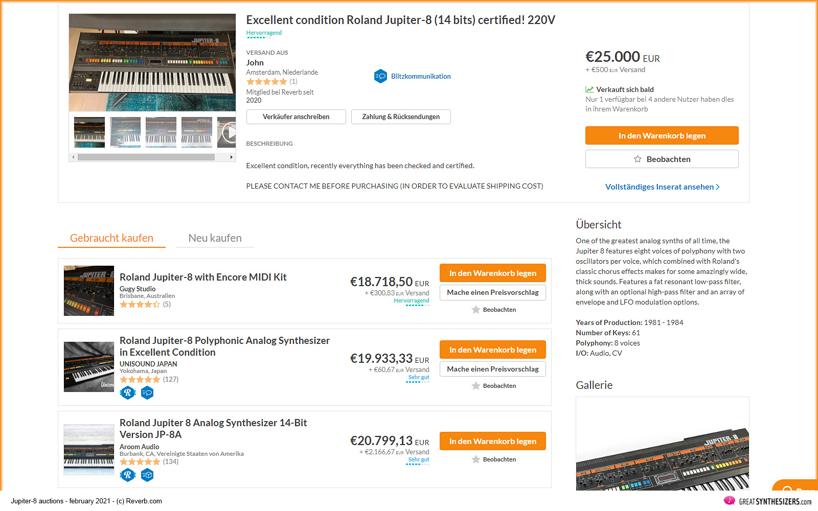 Roland Jupiter-8 Synthesizer auction 2021