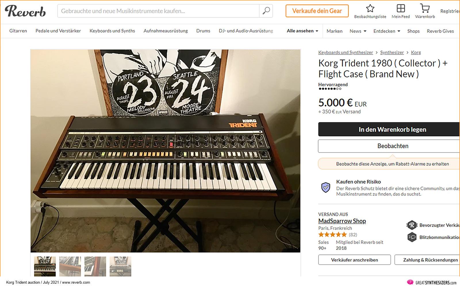 Korg Trident Synthesizer Auction