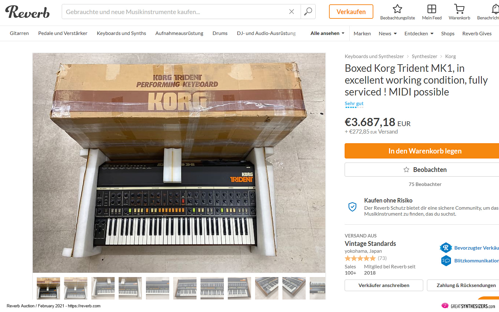 Korg Trident Synthesizer Auction