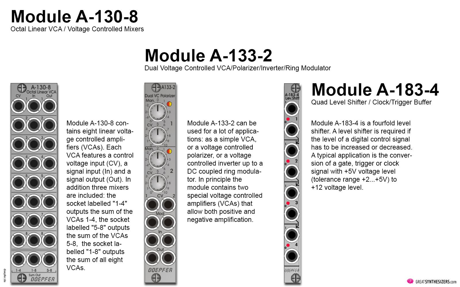 Doepfer, A-100, Module 2020, A-130-8, A-133-2, A-183-4