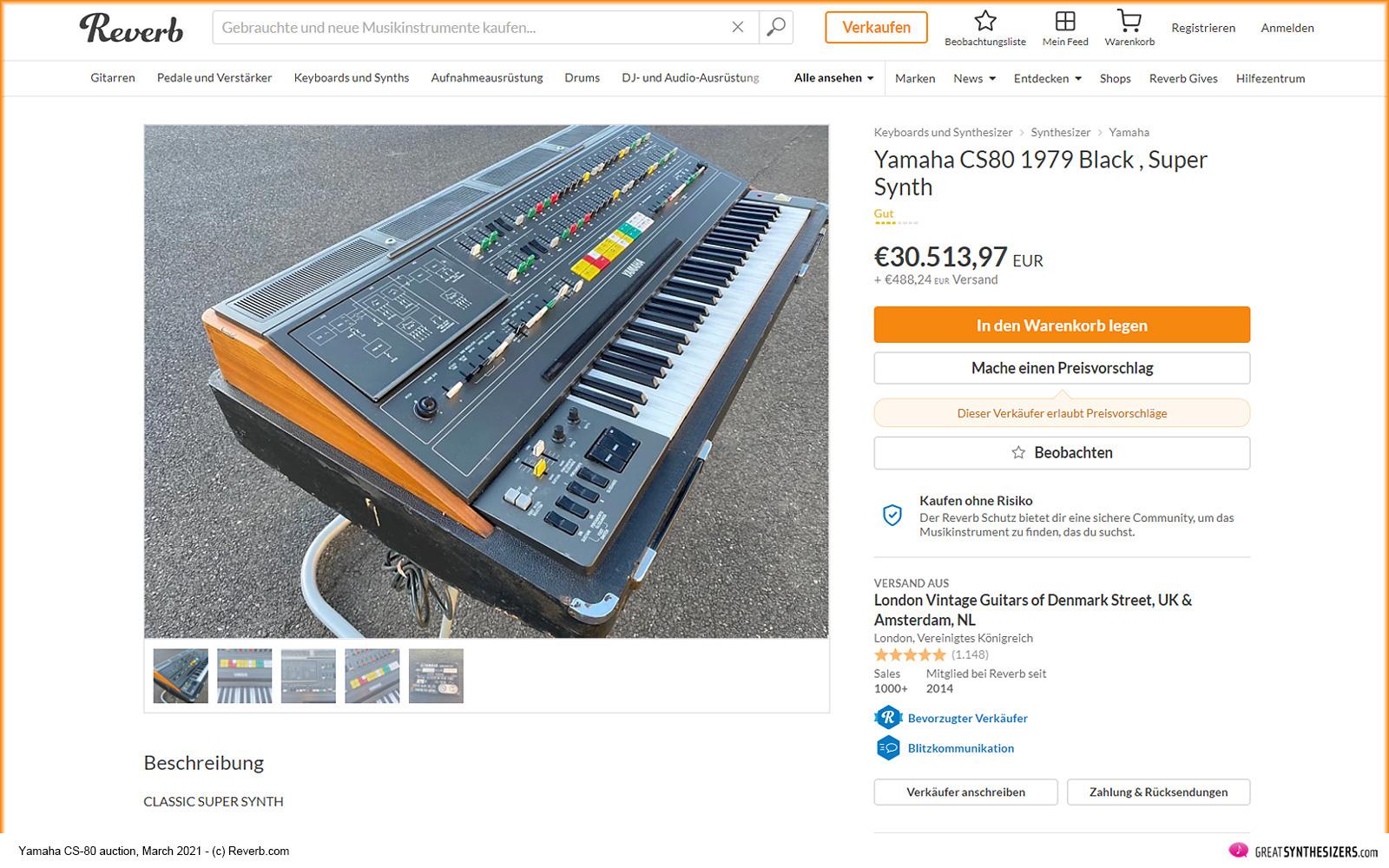 Yamaha CS-80 Synthesizer Reverb Auction