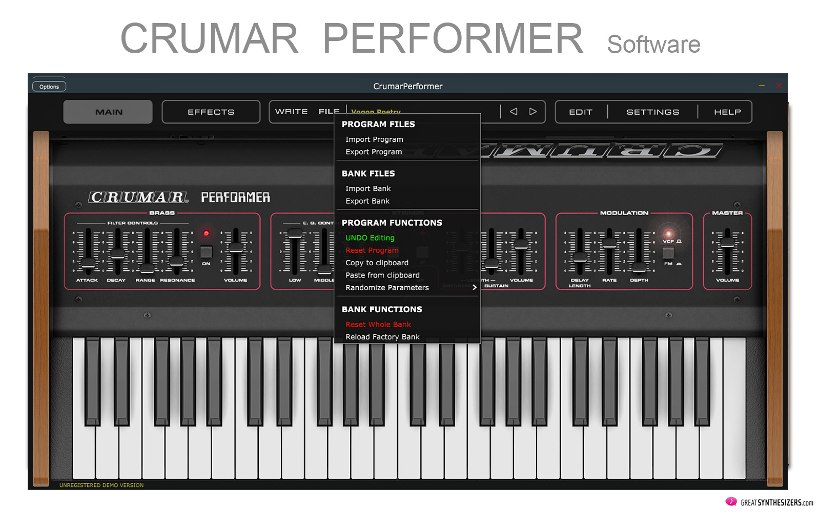 Crumar Performer Software